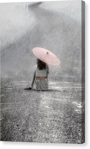 Rain Canvas Print - Woman On The Street by Joana Kruse