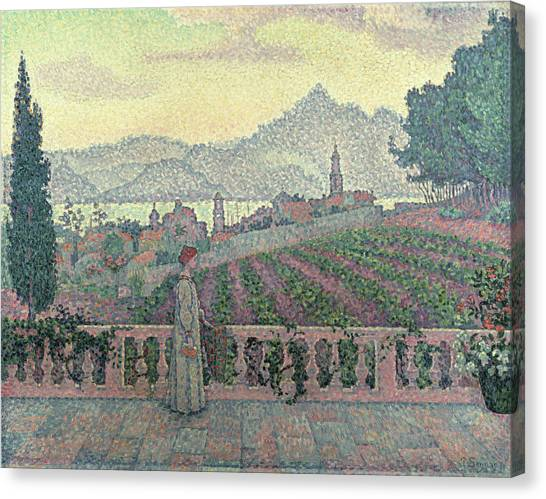Pointillism Canvas Print - Woman On The Terrace by Paul Signac
