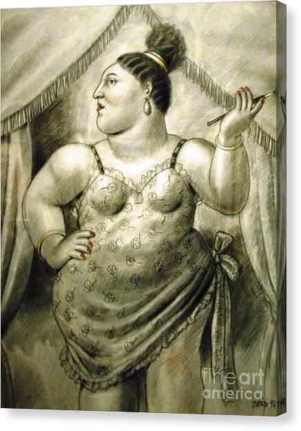 woman performer Botero Canvas Print