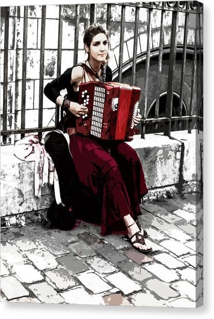 Woman Playing Accordion Canvas Print