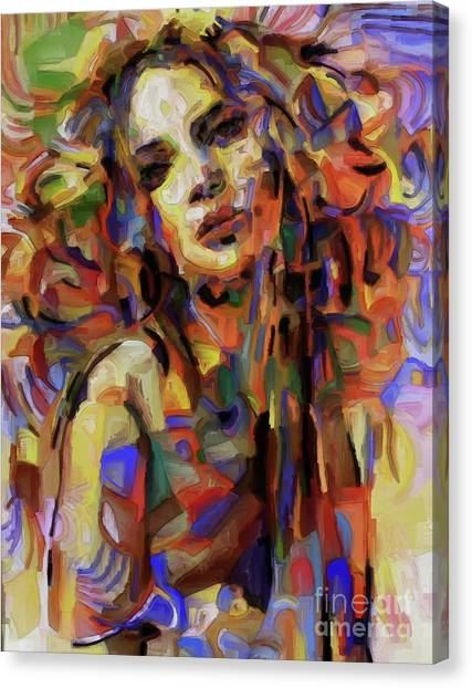 Erotic Framed Canvas Print - Woman Portrait 99ujq by Gull G