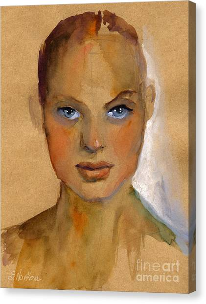 Austin Canvas Print - Woman Portrait Sketch by Svetlana Novikova