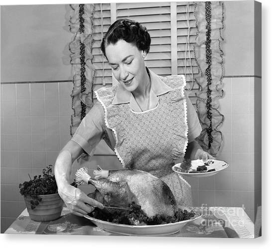 Cranberry Sauce Canvas Print - Woman Preparing Turkey, C.1950s by H. Armstrong Roberts/ClassicStock