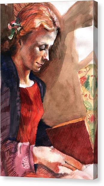 Woman Reading Canvas Print