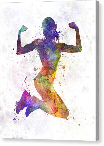 Gym Canvas Print - Woman Runner Jogger Jumping Powerful by Pablo Romero