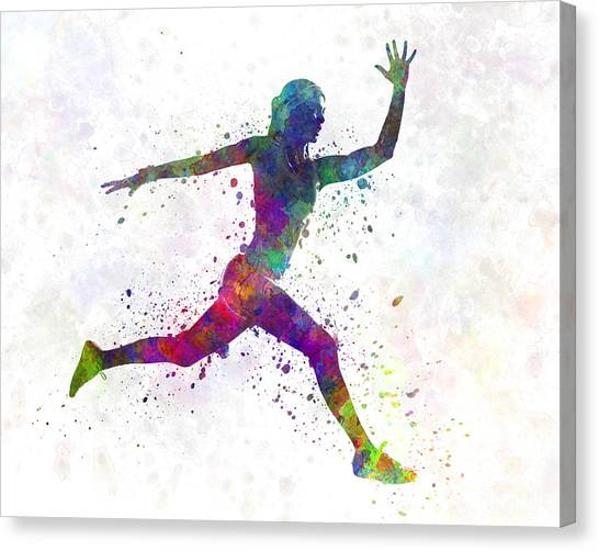 Young Adults Canvas Print - Woman Runner Running Jumping by Pablo Romero