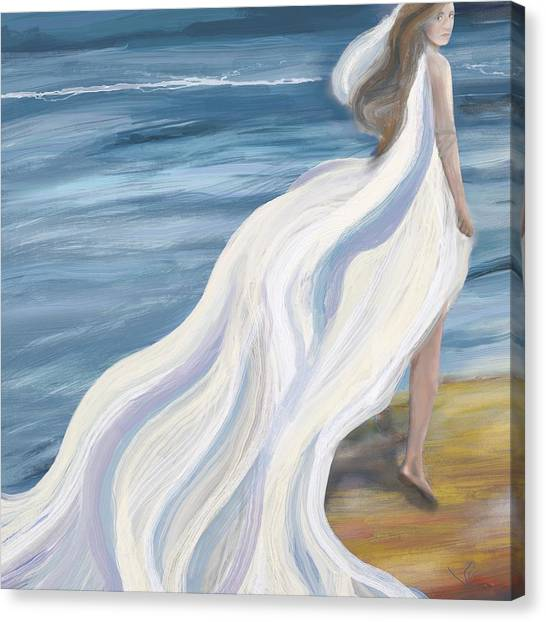 Woman Strolling On The Beach Canvas Print