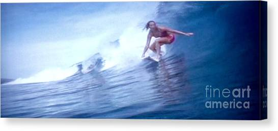 Woman Surfer Canvas Print by Stanley Morganstein