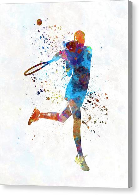 Tennis Players Canvas Print - Woman Tennis Player 03 In Watercolor by Pablo Romero