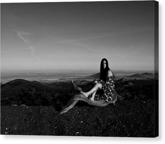 Flannel Canvas Print - Woman Thinking by Scott Sawyer
