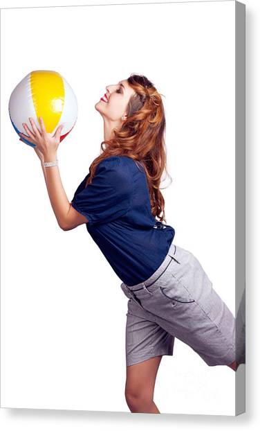Volleyball Canvas Print - Woman Throwing Beach Ball On White Background by Jorgo Photography - Wall Art Gallery