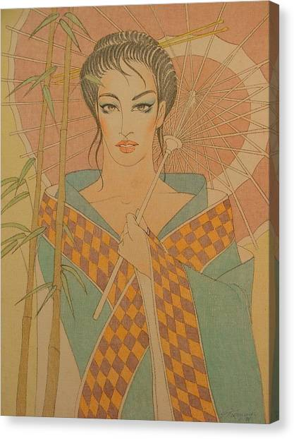 Woman Under The Bamboo Umbrella Canvas Print by Gary Kaemmer