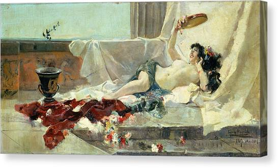 Tambourines Canvas Print - Woman Undressed by Joaquin Sorolla y Bastida
