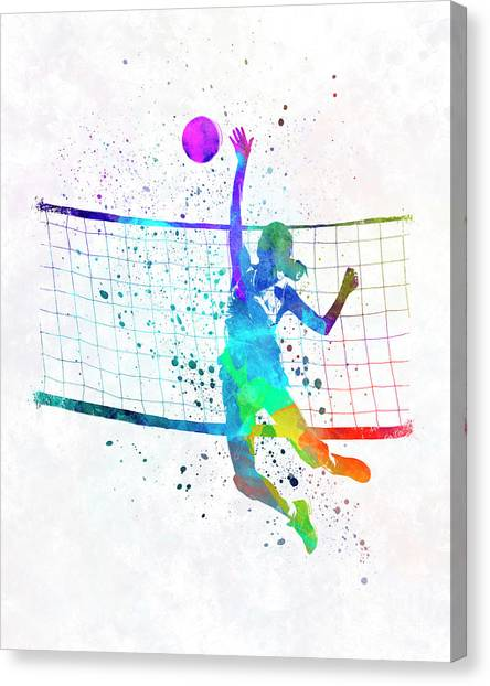 Volleyball Canvas Print - Woman Volleyball Player In Watercolor by Pablo Romero