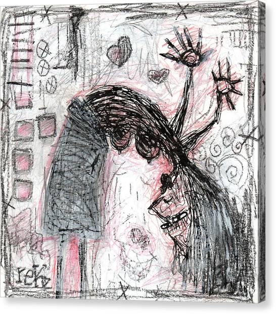 Woman Walking Upside Down Canvas Print