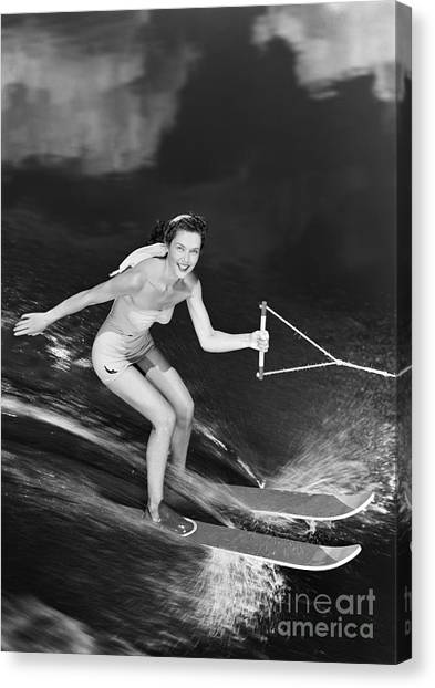 Water Skis Canvas Print - Woman Waterskiing by H. Armstrong Roberts/ClassicStock