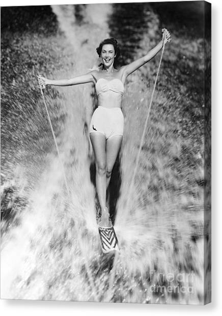 Water Skis Canvas Print - Woman Waterskiing by Photo Media/ClassicStock