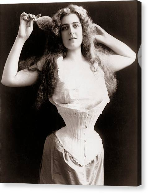 Half-length Canvas Print - Woman Wearing Corset by Unknown