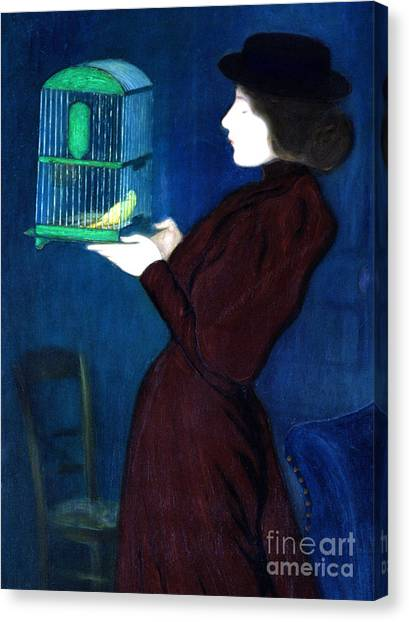 Parakeets Canvas Print - Woman With A Bird Cage  Detail by Jozsef Rippl-Ronai