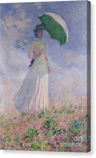 Woman Canvas Print - Woman With A Parasol Turned To The Right by Claude Monet