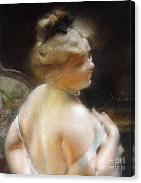 Bare Shoulder Canvas Print - Woman With A Pearl Necklace by Paul Albert Besnard