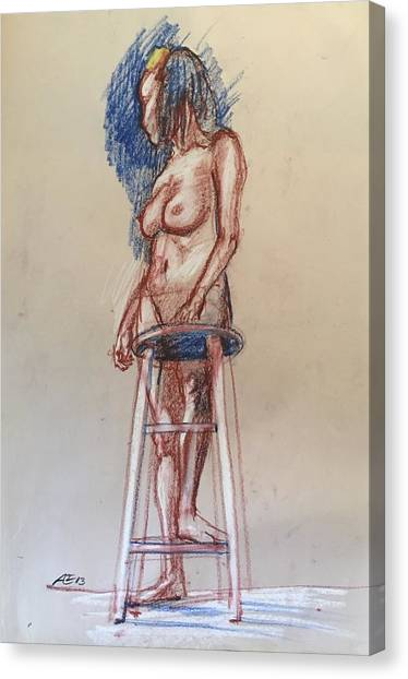 Woman With A Stool Canvas Print by Alejandro Lopez-Tasso