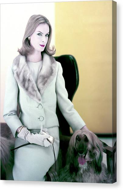 Woman With Afghan Dog Canvas Print by Henry Clarke