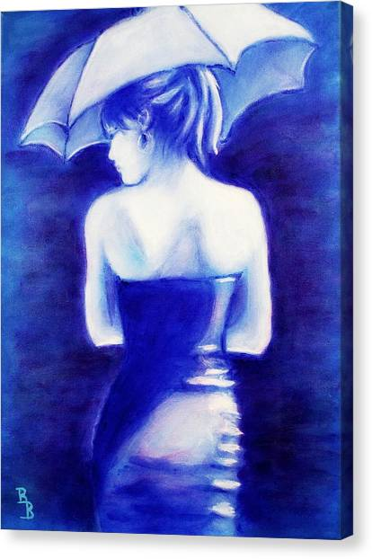 Woman With An Umbrella Blue Canvas Print