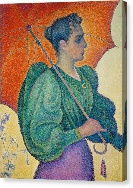 Divisionism Canvas Print - Woman With An Umbrella by Paul Signac