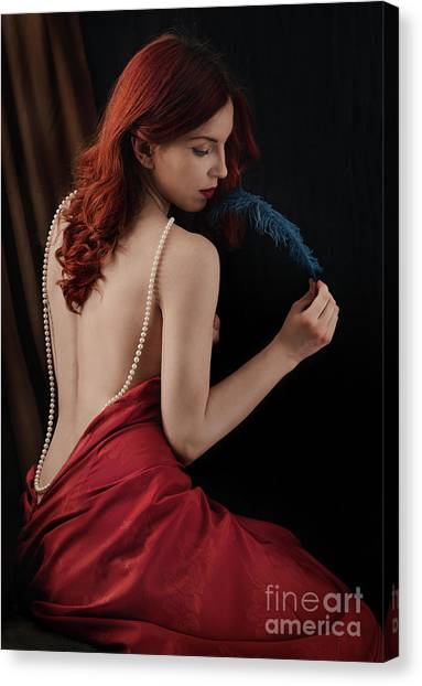 Woman With Blue Feather Canvas Print