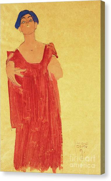 Pencil On Canvas Print - Woman With Blue Hair by Egon Schiele