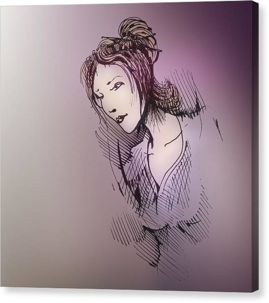 Canvas Print featuring the drawing Woman With Chopsticks In Her Hair by Keith A Link