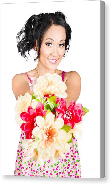 Bare Shoulder Canvas Print - Woman With Flower Arrangement. Valentines Day Gift by Jorgo Photography - Wall Art Gallery