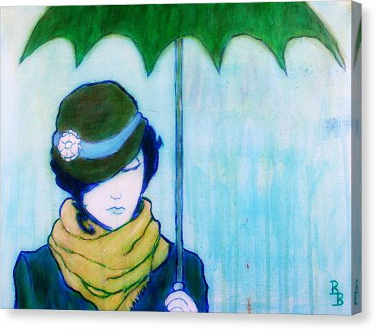 Woman With Green Umbrella Canvas Print