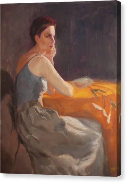 Sold Woman With Lily Canvas Print by Irena  Jablonski