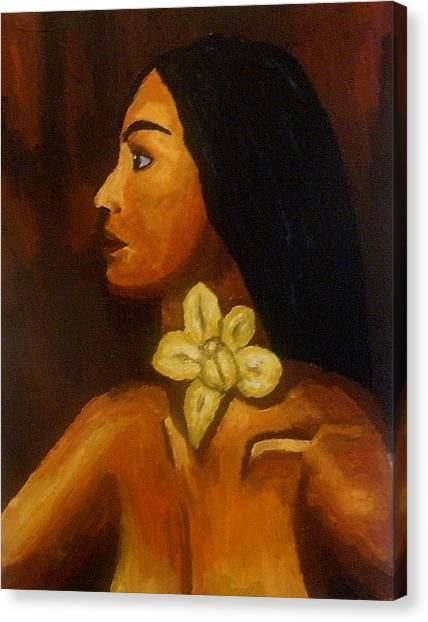 Woman With Orchid Canvas Print by Mats Eriksson