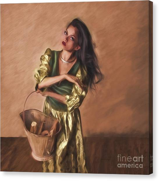 Woman With Pail  ... Canvas Print
