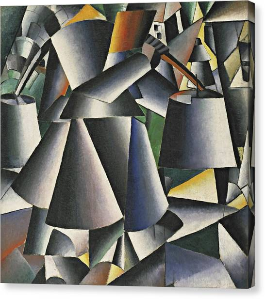 Suprematism Canvas Print - Woman With Pails - Dynamic Arrangement by Kazimir Malevich