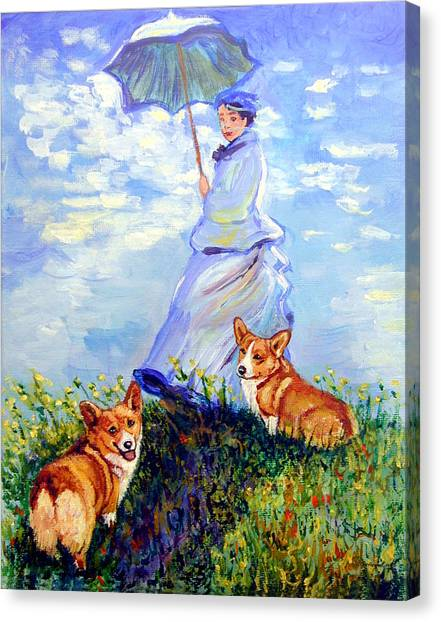 Woman With Parasol And Corgis After Monet Canvas Print by Lyn Cook