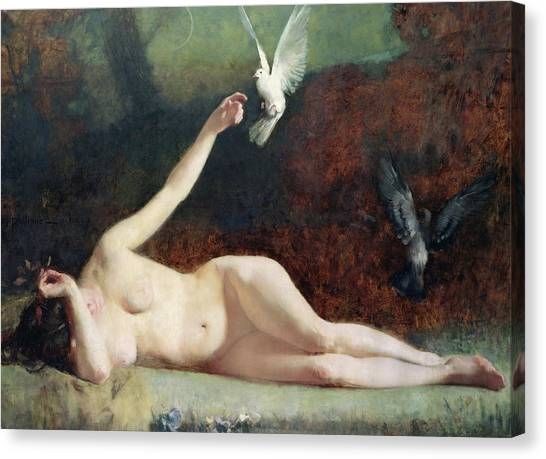 Naked Woman Canvas Print - Woman With Pigeons by Ernst Philippe Zacharie