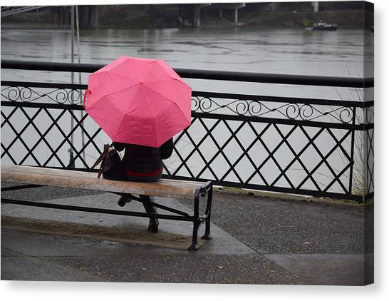 Woman With Pink Umbrella. Canvas Print