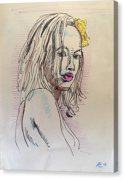Woman With Yellow Flower Canvas Print by Alejandro Lopez-Tasso