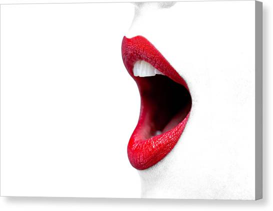 Singing Canvas Print - Womans Mouth Wide Open With Red Lipstick. by Richard Thomas