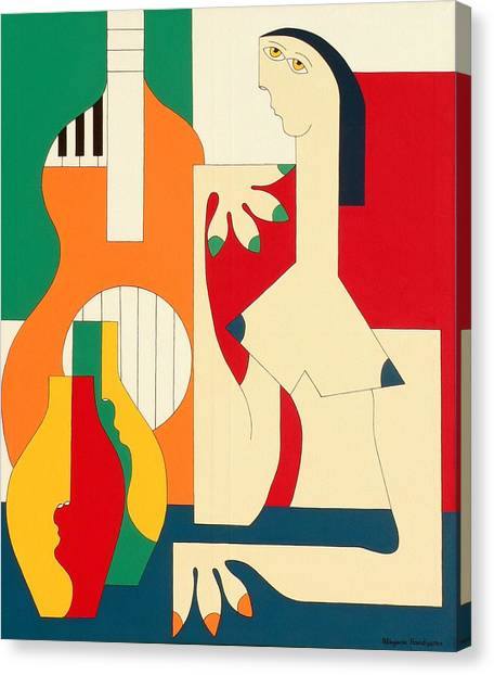 Women And Music Canvas Print by Hildegarde Handsaeme