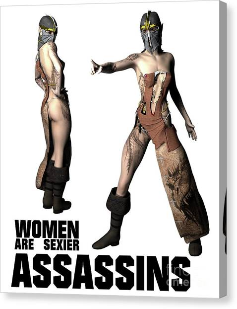 Boobies Canvas Print - Women Are Sexier Assassins by Esoterica Art Agency