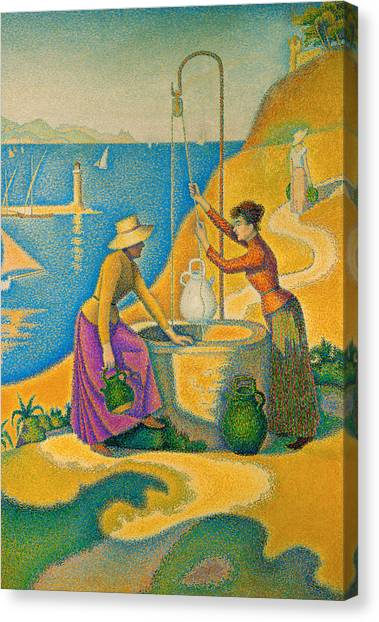 Divisionism Canvas Print - Women At The Well by Paul Signac