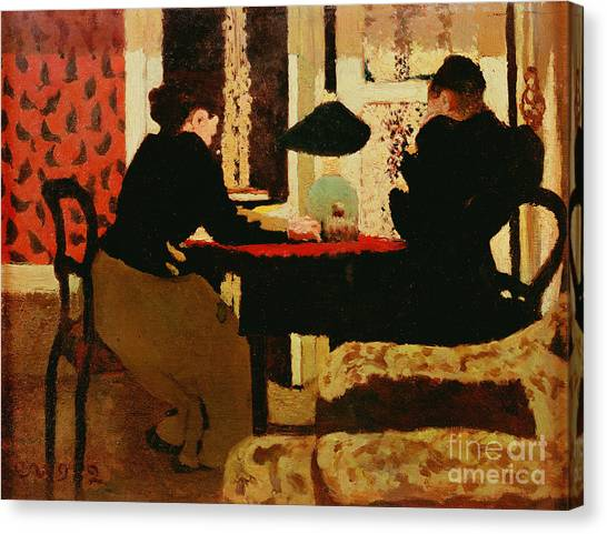 Pointillism Canvas Print - Women By Lamplight by vVuillard