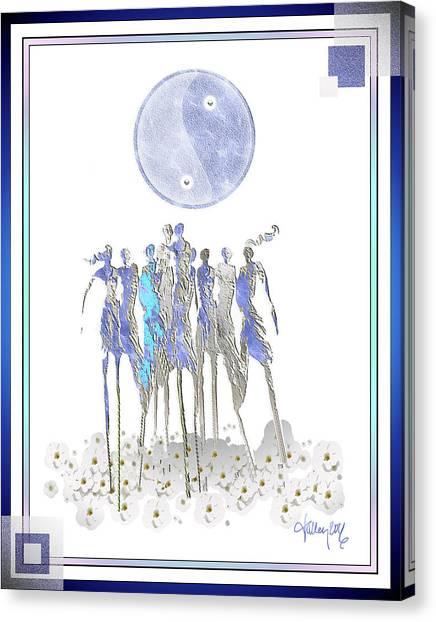 Women Chanting - Full Moon Flower Song Canvas Print