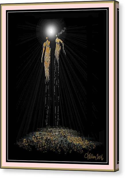 Women Chanting - Full Moon On The Mountain Canvas Print