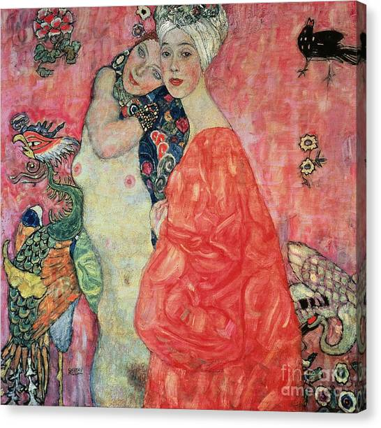 Naked Woman Canvas Print - Women Friends by Gustav Klimt